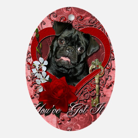Valentine_Red_Rose_Pug_Ruffy Oval Ornament