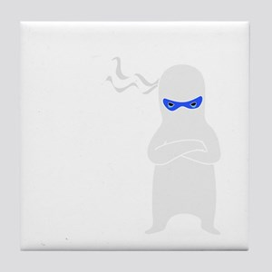 ninja warning dark Tile Coaster