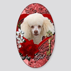 Valentine_Red_Rose_Poodle_White Sticker (Oval)