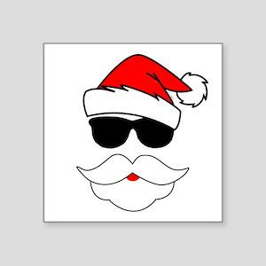 "Cool Santa Claus Square Sticker 3"" x 3"""