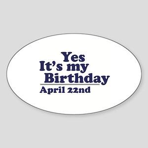 April 22 Birthday Oval Sticker
