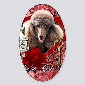 Valentine_Red_Rose_Poodle_Chocolate Sticker (Oval)