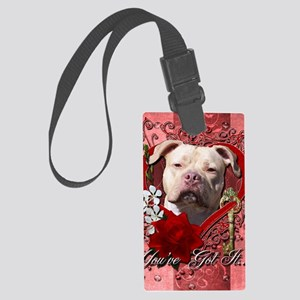 Valentine_Red_Rose_Pitbull_Jerse Large Luggage Tag