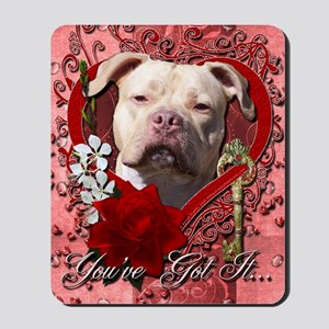 Valentine_Red_Rose_Pitbull_Jersey_Girl Mousepad