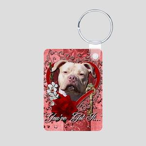 Valentine_Red_Rose_Pitbull Aluminum Photo Keychain