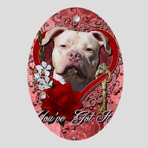 Valentine_Red_Rose_Pitbull_Jersey_Gi Oval Ornament