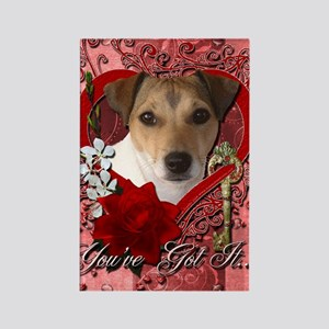 Valentine_Red_Rose_Jack_Russell Rectangle Magnet