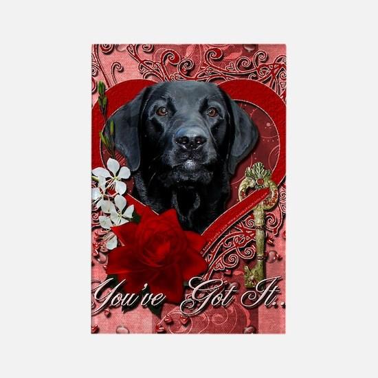 Valentine_Red_Rose_Labrador_Gage Rectangle Magnet