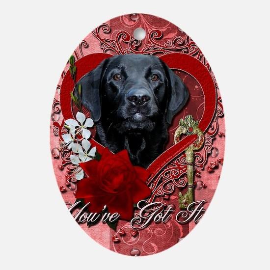 Valentine_Red_Rose_Labrador_Gage Oval Ornament