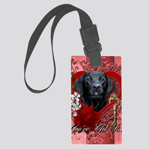Valentine_Red_Rose_Labrador_Gage Large Luggage Tag