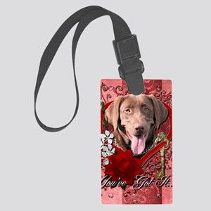 Valentine_Red_Rose_Labrador_Choc Large Luggage Tag