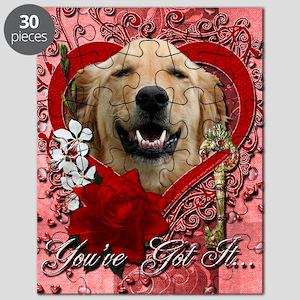 Valentine_Red_Rose_Golden_Retriever_Mickey Puzzle