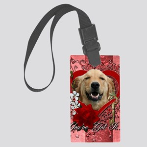 Valentine_Red_Rose_Golden_Retrie Large Luggage Tag