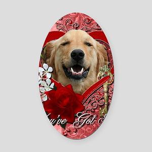 Valentine_Red_Rose_Golden_Retrieve Oval Car Magnet
