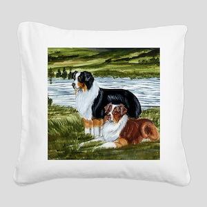 Aussie Tri Colors Square Canvas Pillow