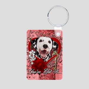 Valentine_Red_Rose_Dalmati Aluminum Photo Keychain