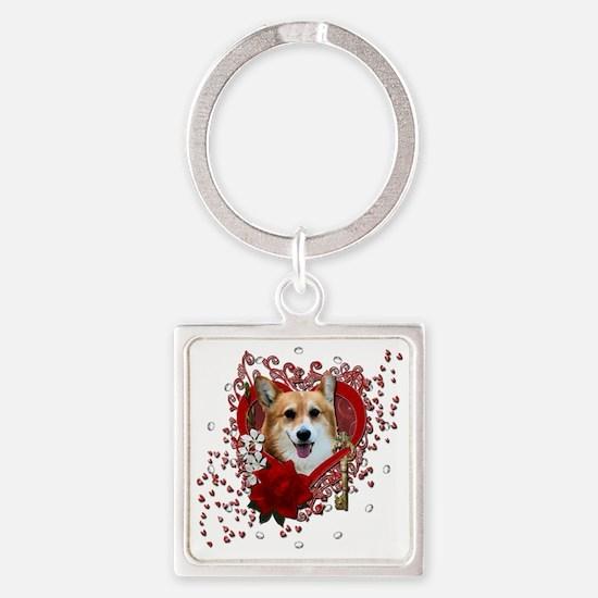 Valentine_Red_Rose_Corgi_Owen Square Keychain