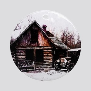 log_cabin_Grunge_8_NoteCard Round Ornament