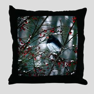 junco w berry  Throw Pillow