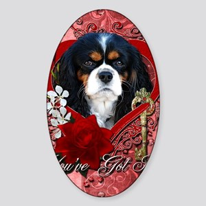 Valentine_Red_Rose_Cavalier_Dk Sticker (Oval)