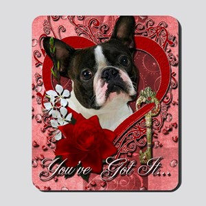 Valentine_Red_Rose_Boston_Terrier Mousepad