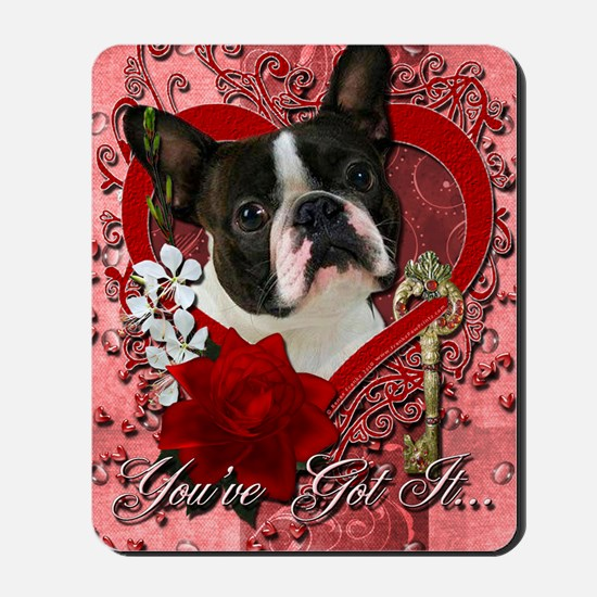 Valentine_Red_Rose_Boston_Terrier Mousepad