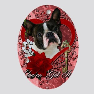 Valentine_Red_Rose_Boston_Terrier Oval Ornament