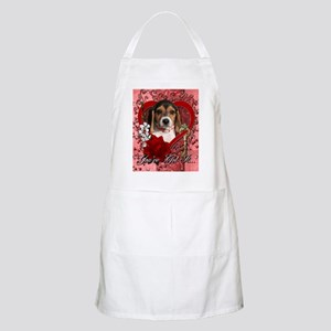 Valentine_Red_Rose_Beagle_Puppy Apron