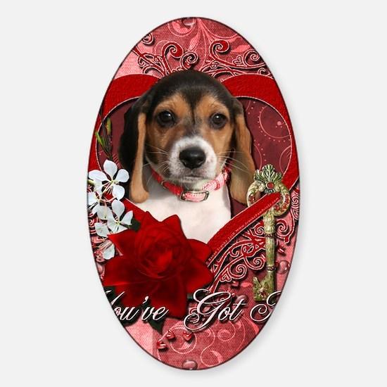 Valentine_Red_Rose_Beagle_Puppy Sticker (Oval)