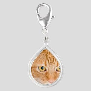 Orange Cat Silver Teardrop Charm