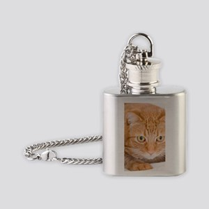 Orange Cat Flask Necklace