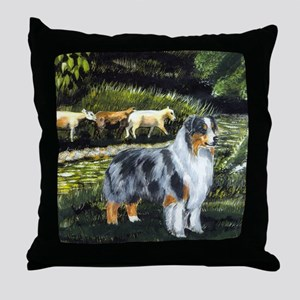 aussie blue merle w sheep Throw Pillow