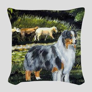 aussie blue merle w sheep Woven Throw Pillow