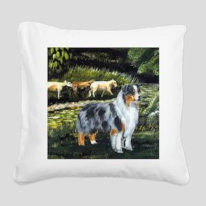 aussie blue merle w sheep Square Canvas Pillow