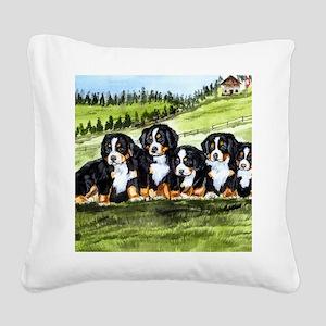 berner farm pups Square Canvas Pillow