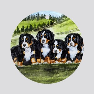 berner farm pups Round Ornament