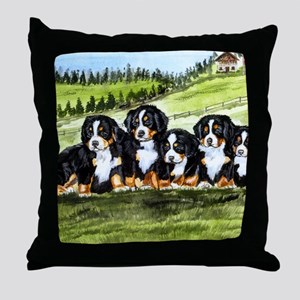 berner farm pups Throw Pillow