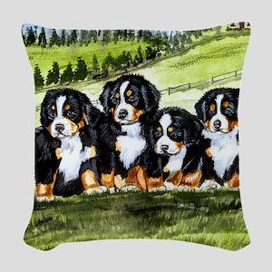 berner farm pups Woven Throw Pillow