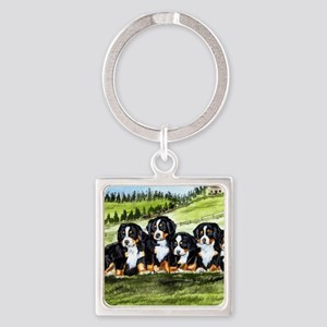 berner farm pups Square Keychain