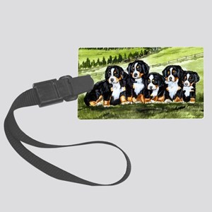 berner farm pups Large Luggage Tag