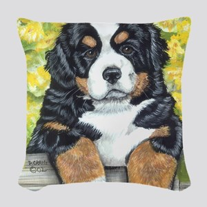 Berner fence pup Woven Throw Pillow