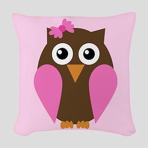 Pink Owl Woven Throw Pillow