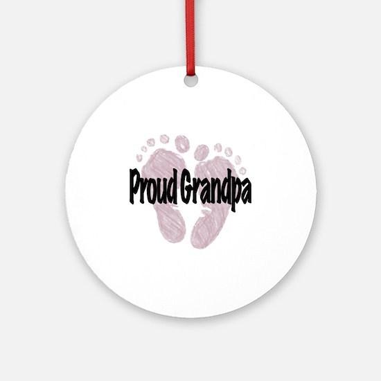 Proud Grandpa (Girl) Round Ornament