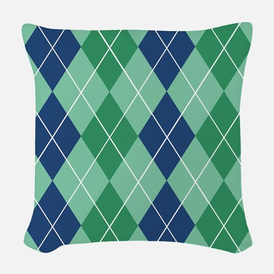Blue and Green Argyle Woven Throw Pillow