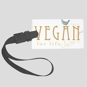 vegan-border2-blk Large Luggage Tag