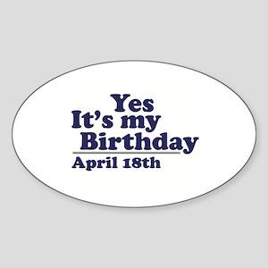April 18 Birthday Oval Sticker