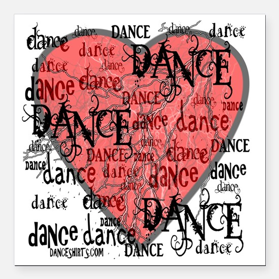 "funky dance with heart b Square Car Magnet 3"" x 3"""