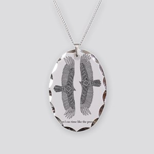 vultures with words Necklace Oval Charm