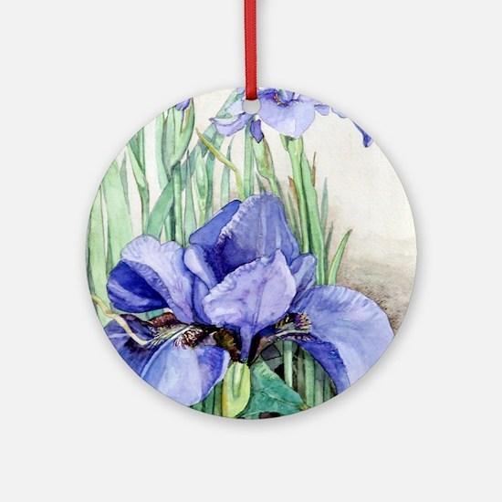 Purple Iris Round Ornament
