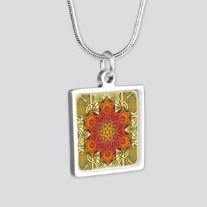 Metatron-Star-Mandala-Post Silver Square Necklace